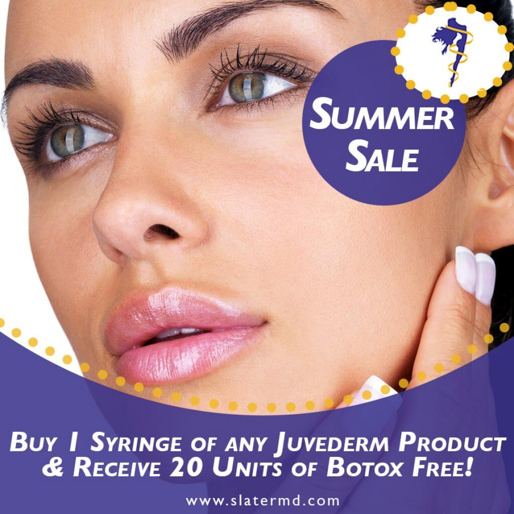 Buy 1 syringe of any juvederm product and receive 20 units of botox free!