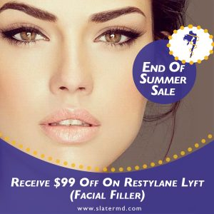 Receive $99 Off On Restylane Lyft (Facial Filler) Save $99 and turn back the clock! After Discount now only $495 per syringe. Maximum of 2 syringes per patient.