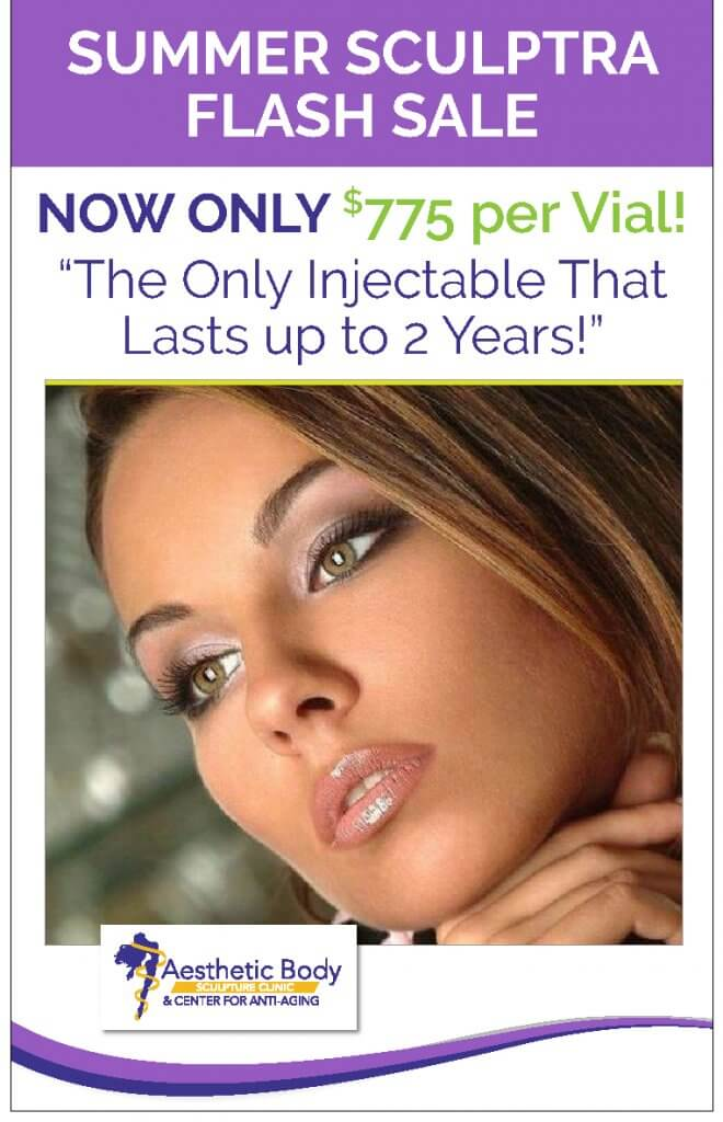 Sculptra Injectable Summer Sale ends 7/31/2018
