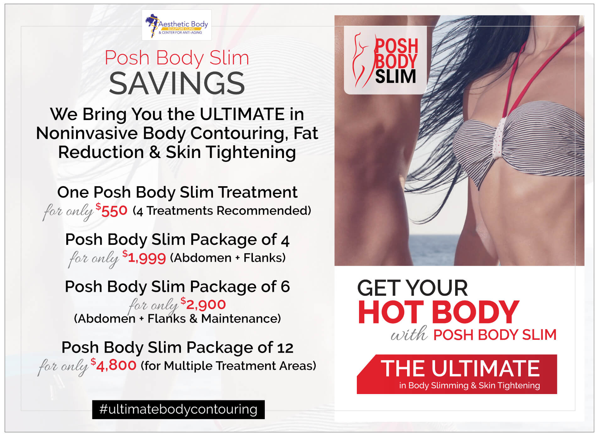 Monthly Aesthetic Treatment Specials - Beauty Specials for Posh Body Slim Radiofrequency and Ultrasonic Cavitation