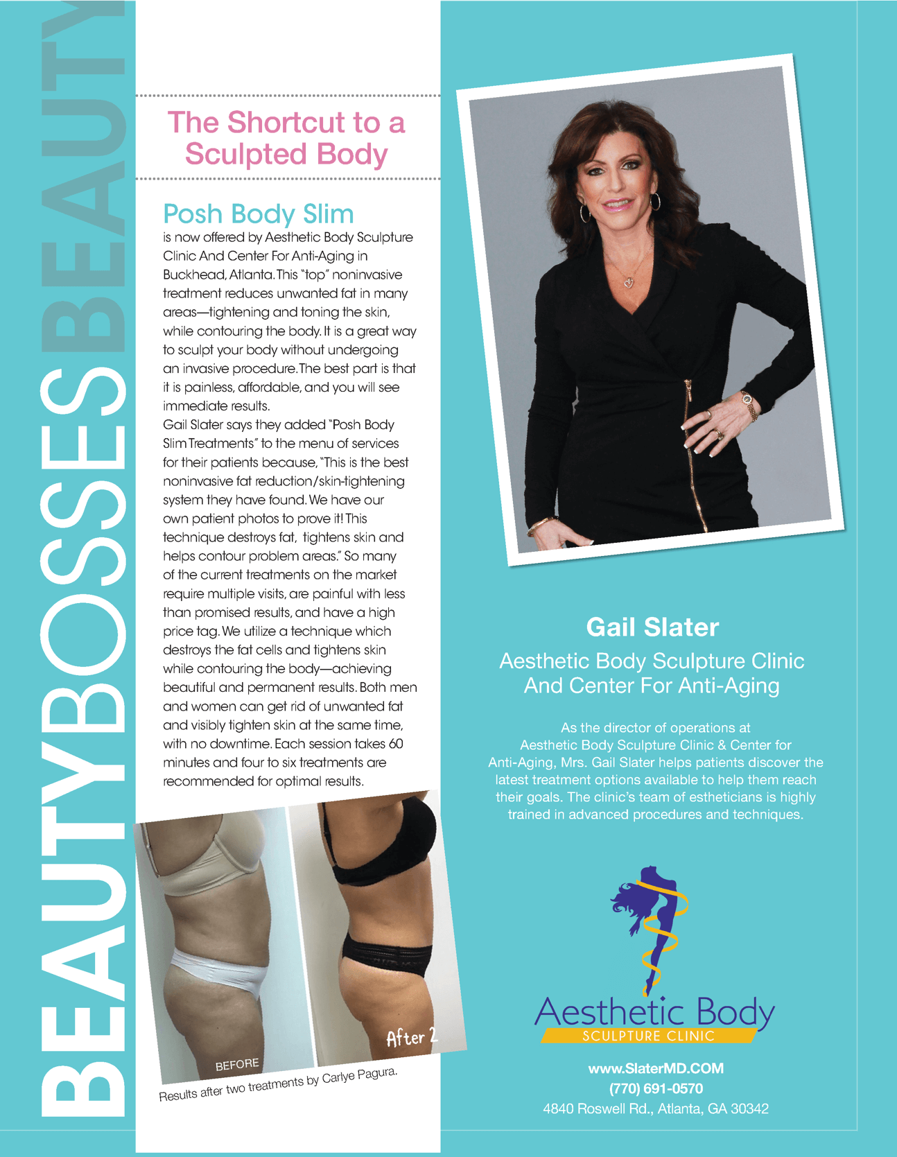 Beauty Bosses - Best Self Magazine Featured Clinic Director Gail Slater as one of 8 Beauty Bosses in Atlanta for June/July Issue 2019