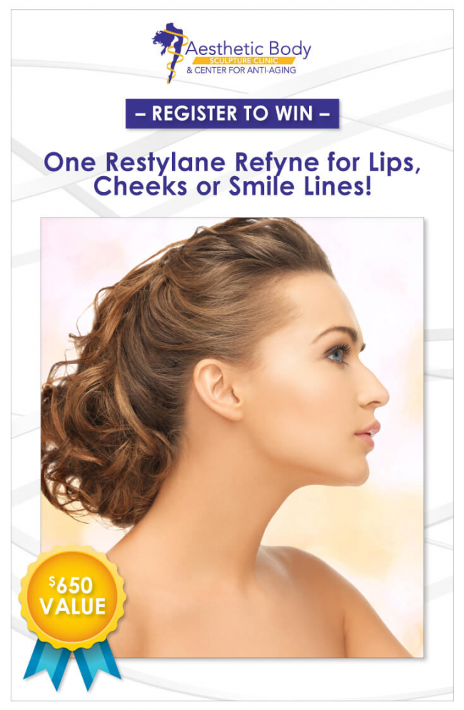 Register to Win One Restylane Refyne for Lips, Cheeks or Smile Lines